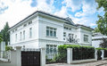 Luxury house vila with fence and garade Royalty Free Stock Image