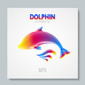 Luxury image logo Rainbow Dolphin. To design postcards, brochures, banners, logos, creative projects. Royalty Free Stock Photo