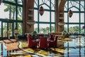 The luxury interior hotel lobby.