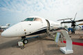 Luxury jet bombardier q nextgen at singapore airshow the on the tarmac the Royalty Free Stock Photography
