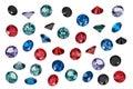 Luxury jewelry gems, set of colored gemstones Royalty Free Stock Photo