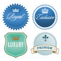 Luxury labels illustration of with crown and fleur de lis signs Royalty Free Stock Photos