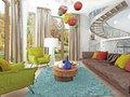 Luxury large living room in the style of kitsch. Royalty Free Stock Photo