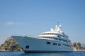 Luxury large super or mega motor yacht in the blue sea. Royalty Free Stock Photo