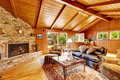 Luxury log cabin house interior. Living room with fireplace and Royalty Free Stock Photo