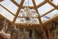Luxury lustre in the room with glass roof Royalty Free Stock Photography