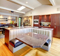 Luxury mahogany Kitchen with modern furniture. Stock Photography
