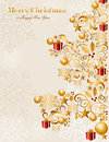 Luxury merry christmas tree background eps vecto gold elements and snowflakes vector file organized in layers for easy editing Stock Photography