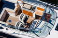 Luxury motorboat top view detailed of well finished new Stock Photo