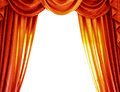 Luxury orange curtains isolated on white background abstract border open curtain on the theatre theatrical performance concept Royalty Free Stock Photos
