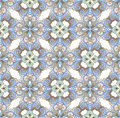 Luxury oriental tile seamless pattern. Vintage flowers seamless ornament in gold and blue colors. Decorative ornament