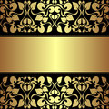 Luxury ornamental background with golden ribbon is presented Royalty Free Stock Photography