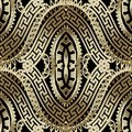 Luxury ornate gold 3d greek vector seamless pattern. Ornamental