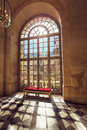 Luxury palace glass windows in versailles palace france and old style bench Stock Photography
