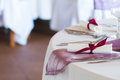 Luxury place setting for wedding detail of Royalty Free Stock Image