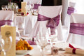 Luxury place setting for wedding reception ready to receive guests Stock Images