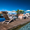 Luxury poolside jetty at seychelles Royalty Free Stock Image