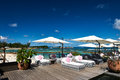 Luxury poolside jetty at seychelles Royalty Free Stock Photos
