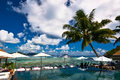 Luxury poolside jetty at seychelles Royalty Free Stock Images