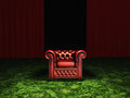 Luxury and power luxurious arm chair in room with green carpet red curtains Stock Photography