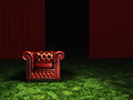 Luxury and power luxurious arm chair in room with green carpet red curtains Royalty Free Stock Photo