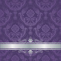 Luxury purple floral damask cover silver border Royalty Free Stock Photo