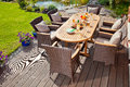 Luxury rattan garden furniture at the patio Stock Photo
