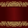Luxury red Background with golden royal Borders.
