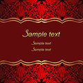 Luxury red Background with ornate Borders for invite Design.