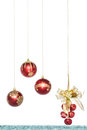 Luxury red christmas ball with jingle bell hanging decoration isolated on white Royalty Free Stock Images