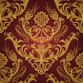 Luxury red & gold floral wallpaper