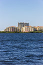 Luxury residential complex large on waterfront Stock Photos