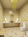 Luxury restroom interior of in golden colors d render Stock Photo