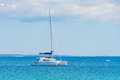 Luxury sailing catamaran in open sea Royalty Free Stock Photo