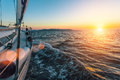 Luxury sailing ship yacht boat in the Aegean Sea during beautiful sunset. Nature. Royalty Free Stock Photo