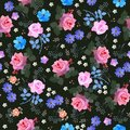 Luxury seamless floral ditsy pattern with roses, bell, cosmos and umbrella flowers, daisy and leaves on black background. Print