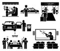 Luxury services first class business vip cliparts icons a set of human pictogram representing such as flight seat limousine taxi Royalty Free Stock Photography