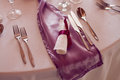 Luxury setting on the wedding or dinner table place fork spoon and knife in elegant colorized photo Royalty Free Stock Image