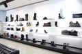 Luxury shoe store with bright interior large new collection Stock Image
