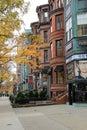 Luxury shops that line the busy city blocks,Newbury Street,Boston,2014 Royalty Free Stock Photo