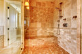 Luxury shower in master bathroom. Royalty Free Stock Photo