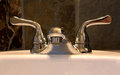 Luxury Silver Bathroom Faucet On Sink Royalty Free Stock Photos