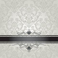Luxury silver floral wallpaper pattern with black seamless book cover border this image is an illustration Royalty Free Stock Image