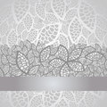 Luxury silver leaves lace border and background Royalty Free Stock Photo