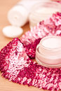 Luxury spa products and pink glitters Stock Image