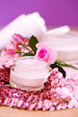 Luxury spa products and pink glitters Royalty Free Stock Image