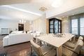 Luxury spacious apartment interior white Royalty Free Stock Photography