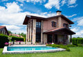 Luxury spanish house with swimming pool Royalty Free Stock Photo