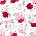 Luxury striped floral seamless vector print with peony, alstroem