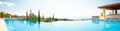 Luxury swimming pool. Panoramic image Royalty Free Stock Photos